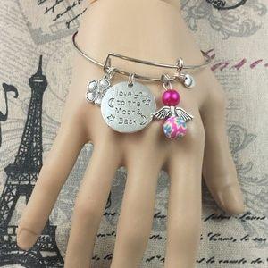 Flower Angel Moon Back Adjustable Bangle Bracelet